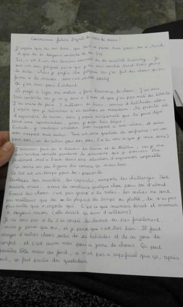 Ma lettre à moi-même partie 1